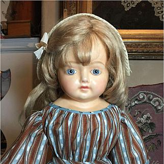 "Rare Wax Over Paper Mâché Doll-28"" Tall"