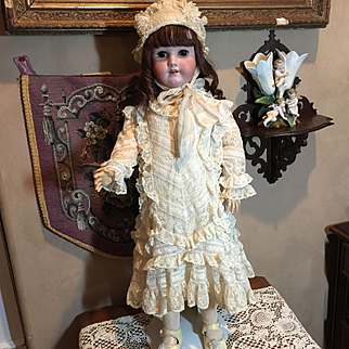 """29"""" Tall Antique Bisque Doll in Fabulous Lace Dress!!"""