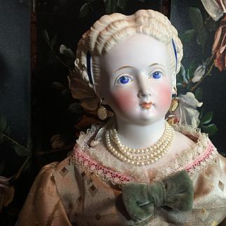 "Superb Parian Bisque Antique Doll- 19"" Tall"