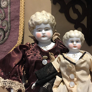 "Two China Head Dolls-Sisters 14""&8""tall"