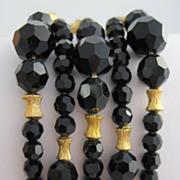 TRIFARI Black Faceted Bead Bracelet with Flower Work