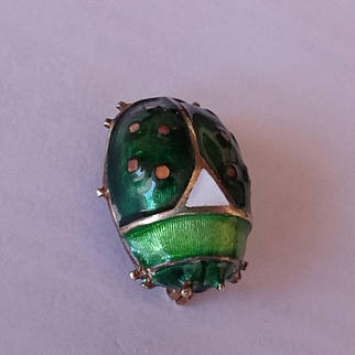 14k Enameled Beetle Pin