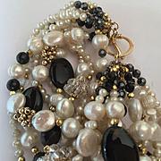 14k Merdeith Frederick Pearl & Onyx Bracelet