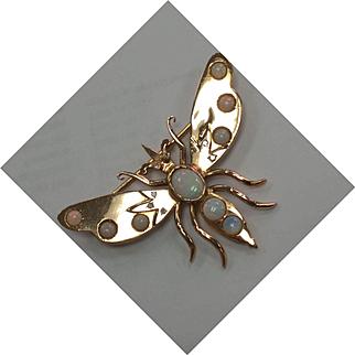 18k Diamond Opal Butterfly Pin
