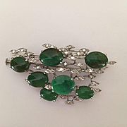 14k Jade Diamond Brooch