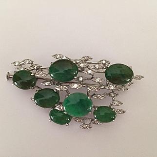 14k Jade Diamond Brooch