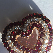 Large 14k Diamond and Garnet Heart Pendant/Brooch