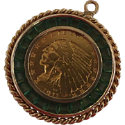 1911 2.5 Gold Indian Head Coin and Emerald Pendant