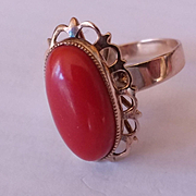 18k Oxblood Red Coral Ring