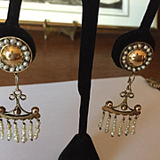 Incredible Seed Pearl Antique Earrings