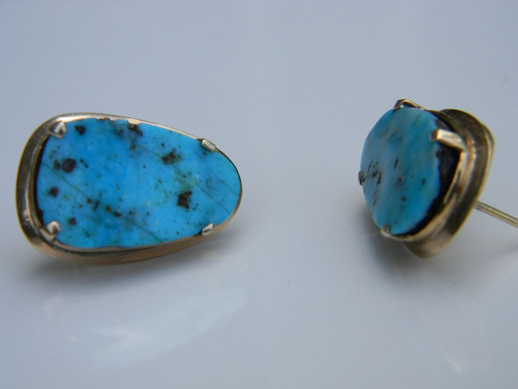 Artisan designed 14k Gold Set Turquoise Earrings