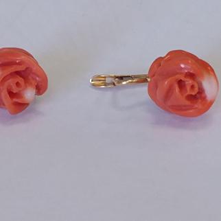 14k Carved Coral Earrings