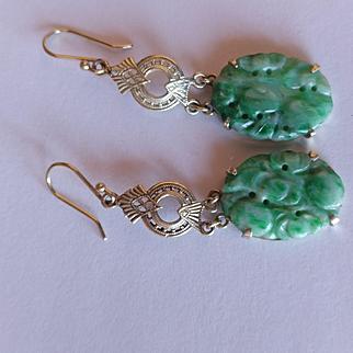14k Pierced Jade Earrings