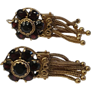 Heavy Etruscan 14k Garnet Tassel Earrings