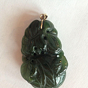 14k Large Deep Green Jade Pendant