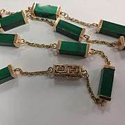 Long 14k Asian Malachite Necklace