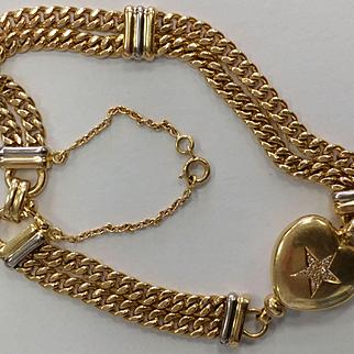 French 18k/Platinum Diamond Bracelet