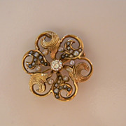 European Style 14k Gold, Diamond Cultured Seed Pearl Brooch