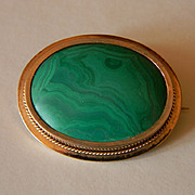 "14k Old ""C"" Clasp Malachite Brooch"