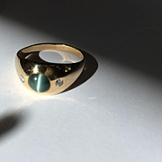 14k Chrysoberyl Cat's Eye Diamond Ring