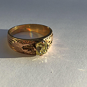 Victorian Cushion Cut Yellow Diamond Ring