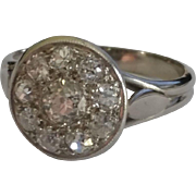 18k Old Mine Cut Diamond Cluster Ring