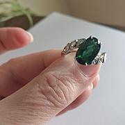 Platinum Diamond Tourmaline Ring