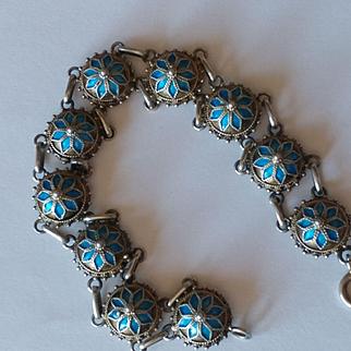 Sterling Enamel Etruscan Bracelet
