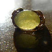 14k Yellow Jade/Serpentine/Stone Ring Wrapped in Foliage