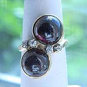 Stark 14K Double Rubellite Diamond Cabachon Ring