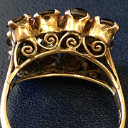Whimsical Ornate 14k Star Sapphire & Ruby Ring