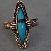 14k Rose Gold Inlay Turquoise Ring