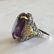 Large Attwood & Sawyer 14k Alexandrite Filgree  Ring