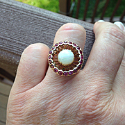 Large 14k Ruby and Opal Cabachon Ring