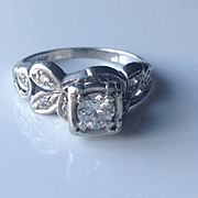 14kt .50 ct Solitaire Floral DIamond RIng