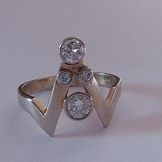 14k Platinum Transitional Cut Diamond Ring