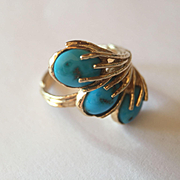 14k Sleeping Beauty Artisan Turquoise RIng