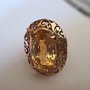 Large 14k Ornate Citrine RIng