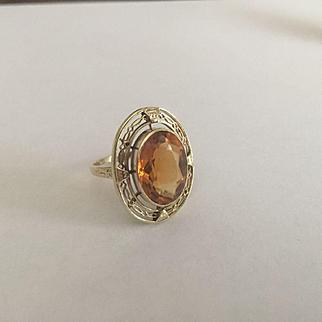 Large 14k Citrine Ring