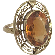Large 14k Citrine Ring