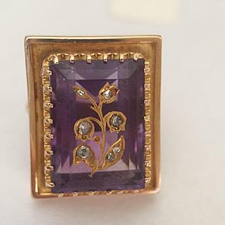 Large 14k Amethyst Rose Cut Diamond Ring