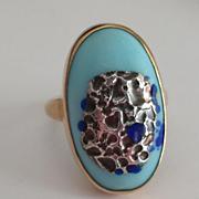 14k Enamel Sterling Studio Ring
