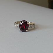 14k Diamond Natural Rhodolite Garnet