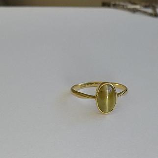18k Chrysoberyl / Cat's Eye Cabochon Ring