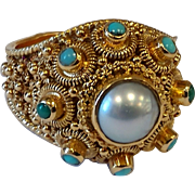 19k Ectrusian Pearl and Persian Turquoise Ring