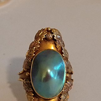 10k Arts & Crafts Pearl Ring