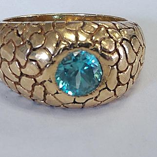 Heavy 14k Blue Zircon Ring