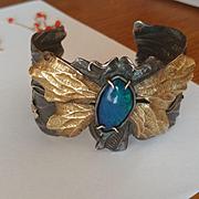 18k Sterling Black Opal Margaret Barnaby Cuff Bracelet
