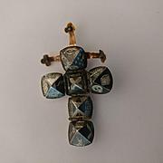 14k Silver Niello Masonic Folding Ball Cross Fob