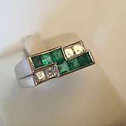 Platinum Deco Oscar Heyman Brothers Emerald & Diamond Ring